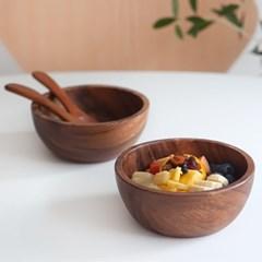 니코트 우드 홈카페 시리얼볼 그릇 스푼 세트 4P