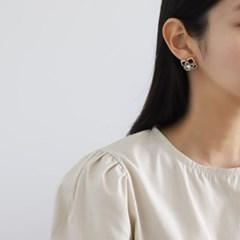 꽃 진주 화이트 블랙 E1348 패션 귀걸이