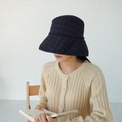 체크 꾸안꾸 패션 베이지 패션 버킷햇 벙거지 모자