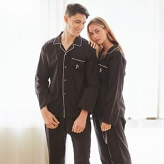 페리힐즈 커플잠옷세트 블랙 코튼 긴팔잠옷(7026)