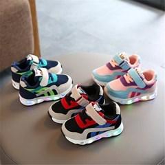 키즈 유아 겨울 여름 사계절 LED 라이트 운동화 신발 H