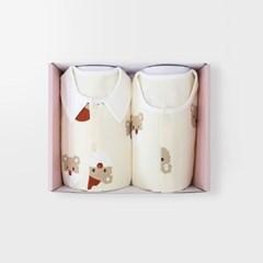 [메르베] 산타멍멍 아기 돌선물세트(내의+수면조끼)_겨울용