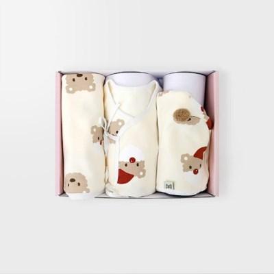 [메르베] 산타멍멍 출산선물세트(배냇저고리+속싸개+모자)_겨울용