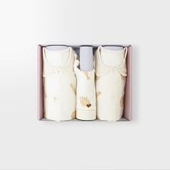 [메르베] 해쉬브라운 아기 백일선물세트(내의+우주복+모자)_겨울용