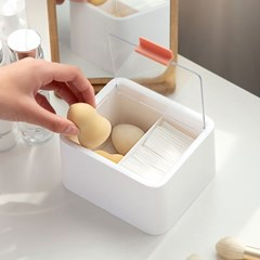 투명 2구 화장솜 면봉케이스