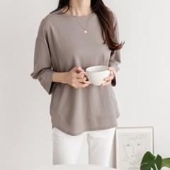 여성 여자 가을 데일리 긴팔 티셔츠 온 7부소매 절개