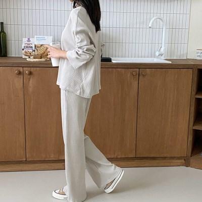 [Set] Waffle Tee + Wide Pants