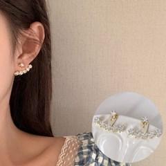 하에 큐빅 레이어드 반달 귀걸이