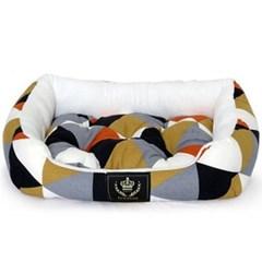 애견 사각방석 오렌지 중형 1P 강아지집 쿠션 침대