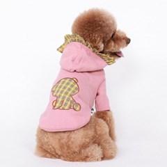 강아지 댕댕이 티 옷 부분 체크 후드 체리베어 핑크