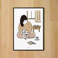 독서와 댕댕이 M 유니크 인테리어 디자인 포스터 강아지 동물