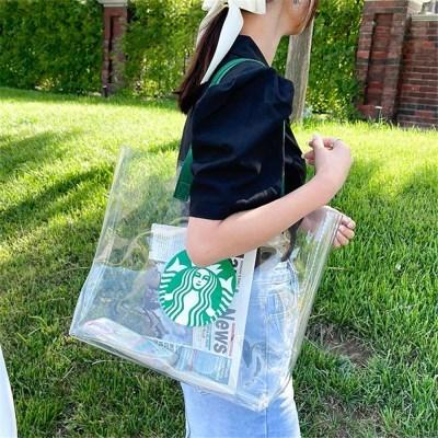 스타벅스 투명 비치백 PVC 방수 에코백 숄더백 가방 J