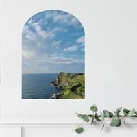 제주 푸른빛 바다-창문 아치형 방수 붙이는 포스터(부착형)