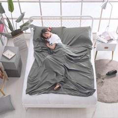 여행용 캠핑 침낭라이너(160x210cm) (그레이) 차박침낭 캠핑