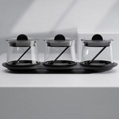 트레이 스푼 양념통 3P세트 (블랙) 1세트