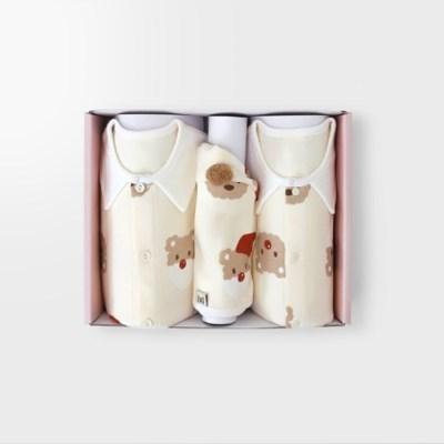 [메르베] 산타멍멍 아기 백일선물세트(내의+우주복+모자)_겨울용
