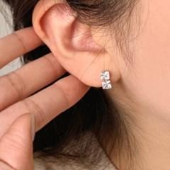 심플한 스퀘어 큐빅 은침 결혼식 귀걸이