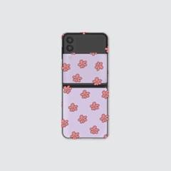 (클리어 하드-Z플립3) 보라꽃 패턴