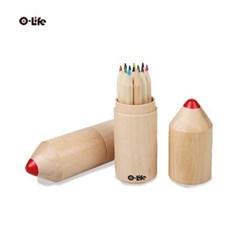 오라이프 연필모양 원통 케이스 12색 색연필