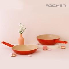 로이첸 IH 더-빨강팬 2종세트(28cm후라이팬+28cm궁중팬)