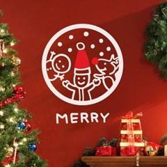 동그라미 속 산타 눈사람 루돌프 merry 크리스마스 스티커