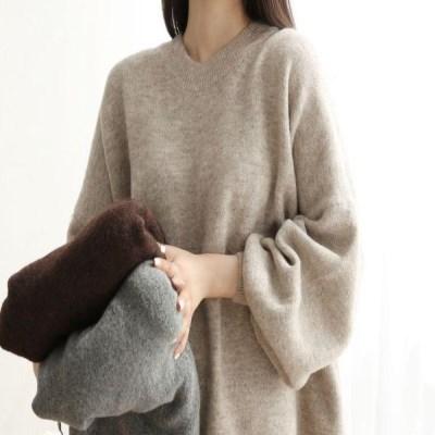 여자 루즈핏 울함유 포근한 무지 스웨터 티셔츠