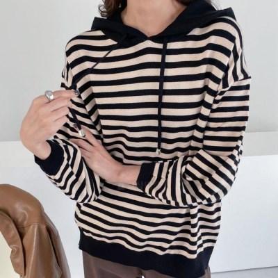 여자 단가라 줄무늬 스트라이프 니트 후드 티셔츠