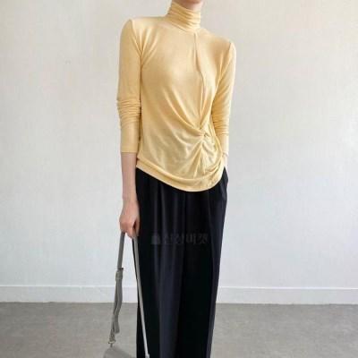 여자 꼬임 폴라 슬림핏 텐셀 스판 티셔츠