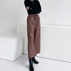 여자 가을 와이드 일자 넓은통 밴딩 스트링 가죽 레더 9부 팬츠