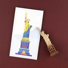 우드썸-자유의여신상 랜드마크 원목 입체퍼즐 포스트카드