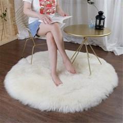천연 양털 원형 러그 바닥 카페트 양모 매트 H