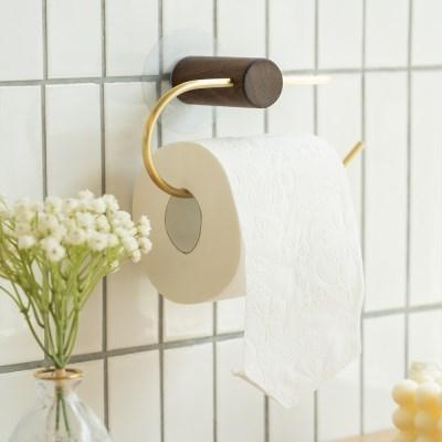 인테리어 욕실 소품 접착식 원목 화장지 휴지 걸이