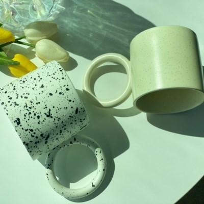 법랑 밀크글라스 시리얼볼 머그 점박이 컵 잔 직장상사선물