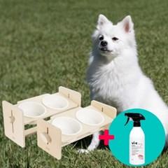 강아지 높이조절 식기밥그릇 원목식탁2구 각인+탈취제