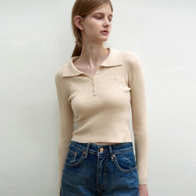 PIQUE COLLAR RIBBED KNIT_BEIGE