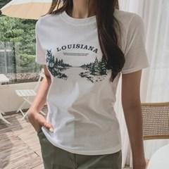겟잇미 카오 레터링 프린팅 라운드 반팔 티셔츠