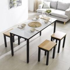 T7 로디 1200 철제 4인식탁세트 4인용식탁 홈바테이블
