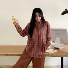 겟잇미 이아 가을 레이어드 캐주얼 체크 남방 셔츠