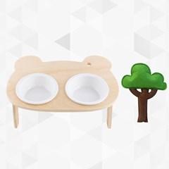반려동물 강아지 고양이 세라믹 밥그릇 나무인형 세트
