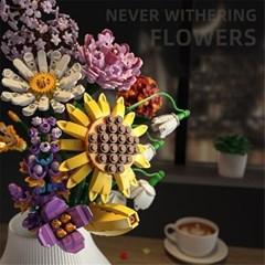 중국 호환 레고 꽃다발 플라워 부케 꽃블럭 장미 H