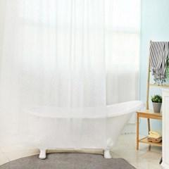 욕실 방수 샤워커튼+커튼링 방수막 (화이트스텔라)
