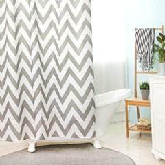 욕실 방수 샤워커튼+커튼링 방수막 (지그재그)