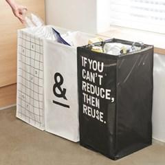 [리본제이]양면 디자인 가정용 재활용 3단 분리수거함 L