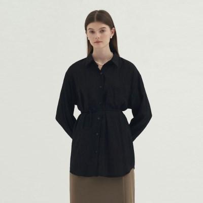 Back Open Blouse - Black