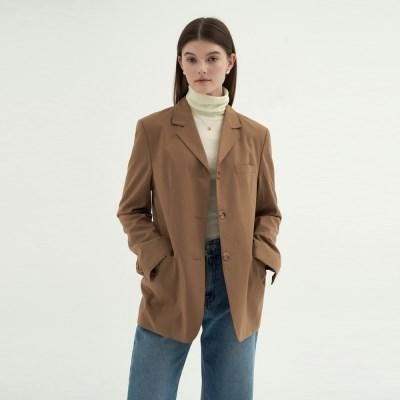 Stitch Callar Single Jacket  - Beige