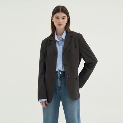 Stitch Callar Single Jacket  - Gray