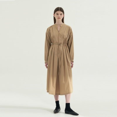 Pleats Point Cotton Dress - Beige