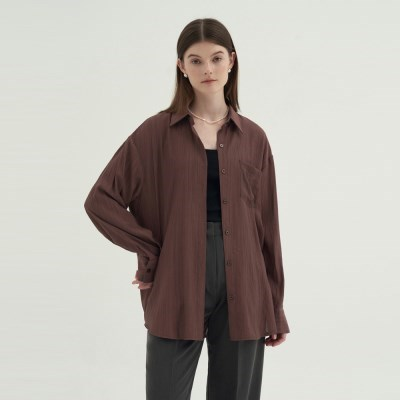 Back Open Blouse - Brown