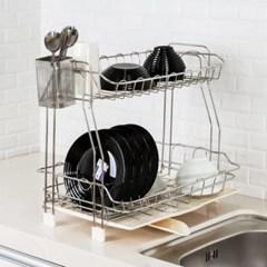2단 식기건조대 식기보관함 설거지 물빠짐 그릇 컵 접시건조대