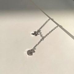 여성 실버 925팔찌 발찌 체인 데일리 별 앤 폴 큐빅문
